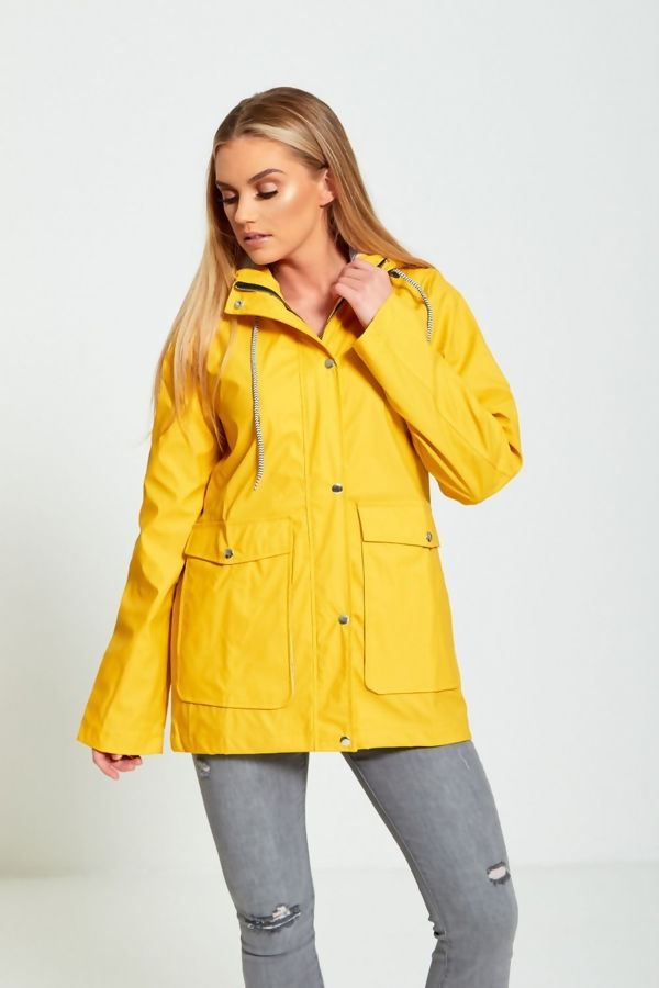 Mustard Rubber Hooded Raincoat Jacket