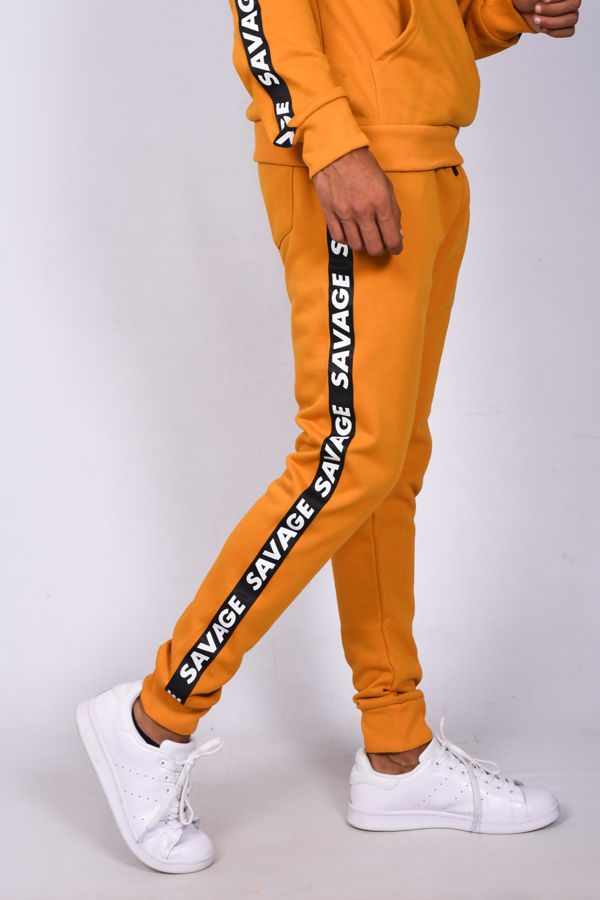 Mustard Skinny Fit Hooded Tracksuit With Savage Band