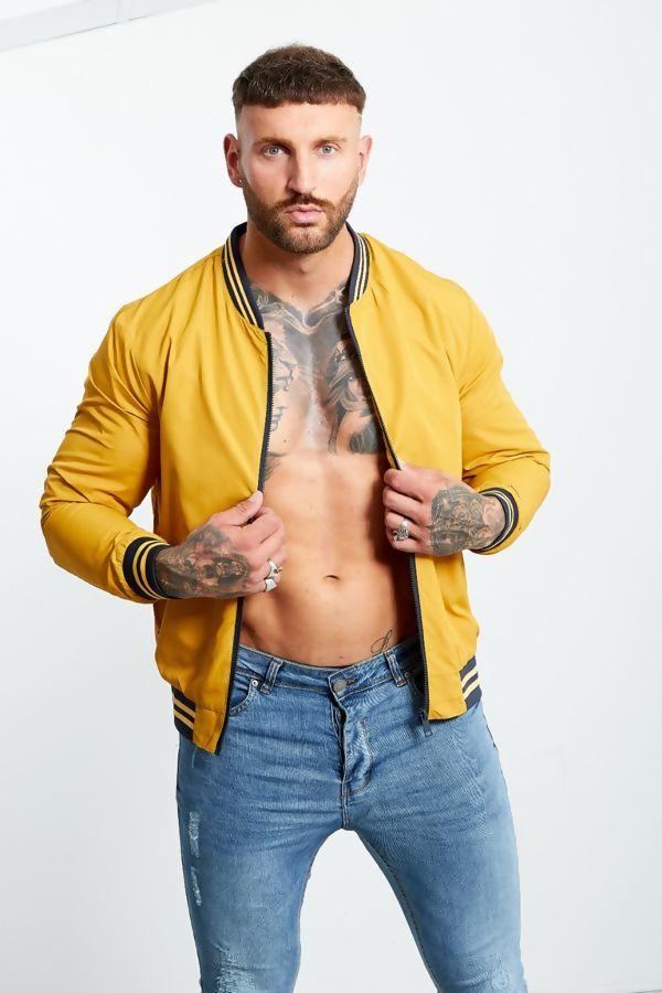 Mustard Strip Ribbed Jacket