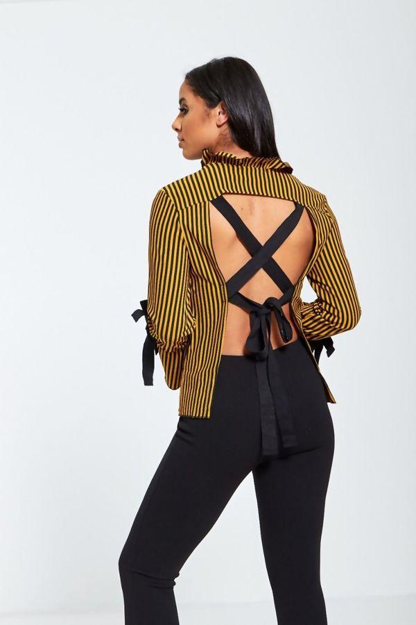 Mustard Striped Open Back Ribbion Tie Shirt