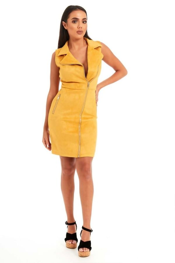 Mustard Suede Zip Up Mini Dress