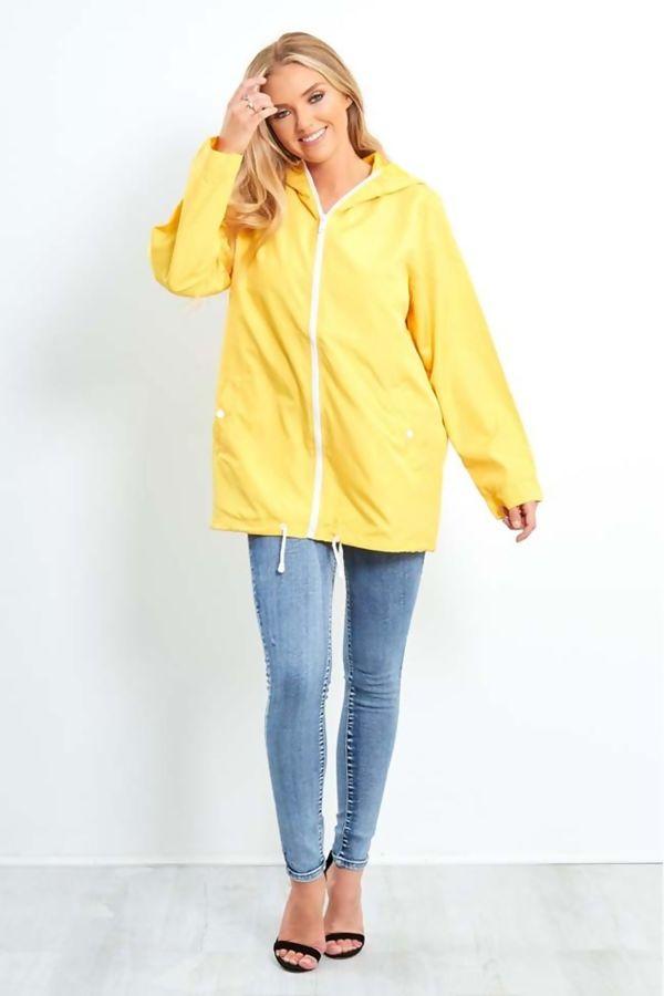 Mustard Zip Through Cagoule Raincoat