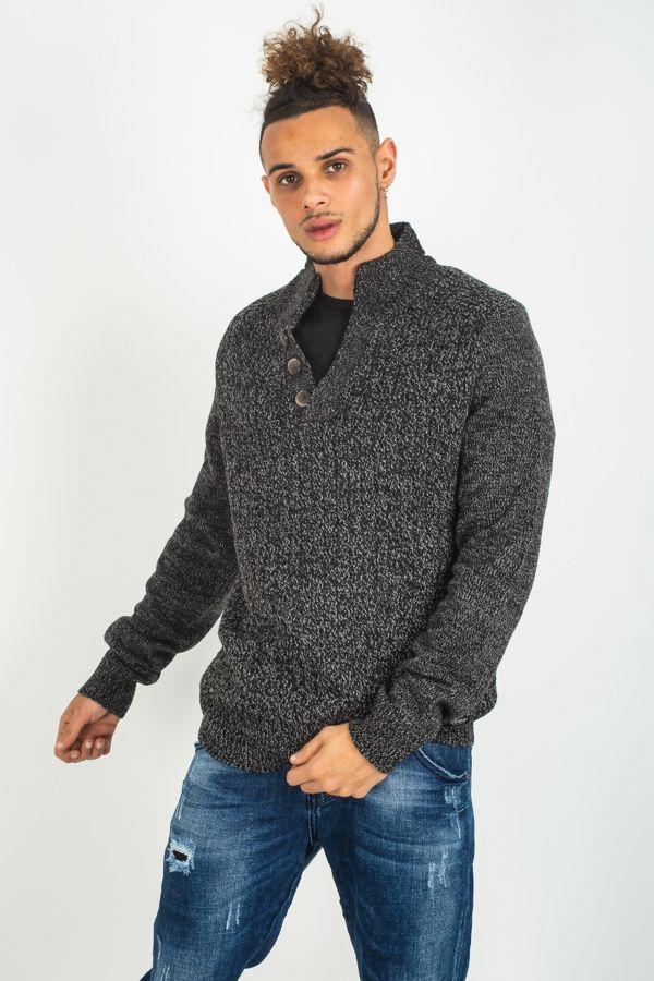 Men's Black V Neck Button Pullover Jumper