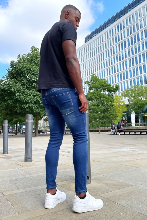 Mid Blue Wash Super Skinny Ripped Jeans