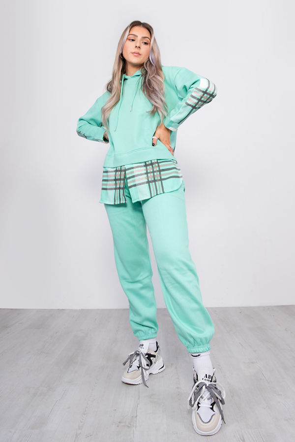 Mint Checked Fleece Hoodie And Jogger Lounge Set