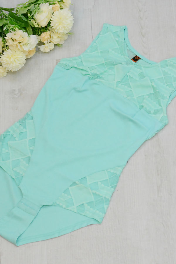 Mint Cut Out Back Lace Up Bodysuit