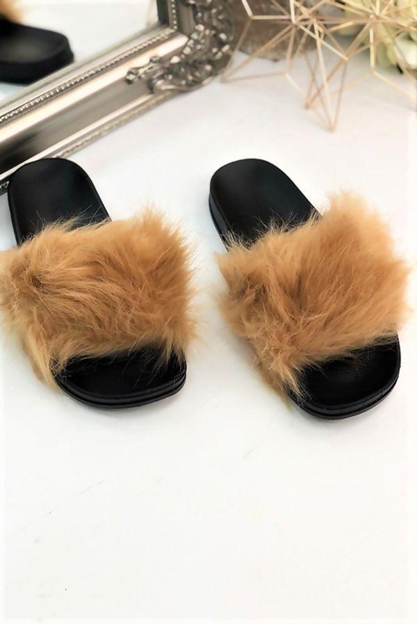 Mocha Fluffy Fur Sliders