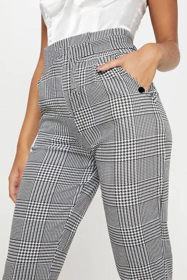 Monochrome Check Button Pocket Cigarette Trouser