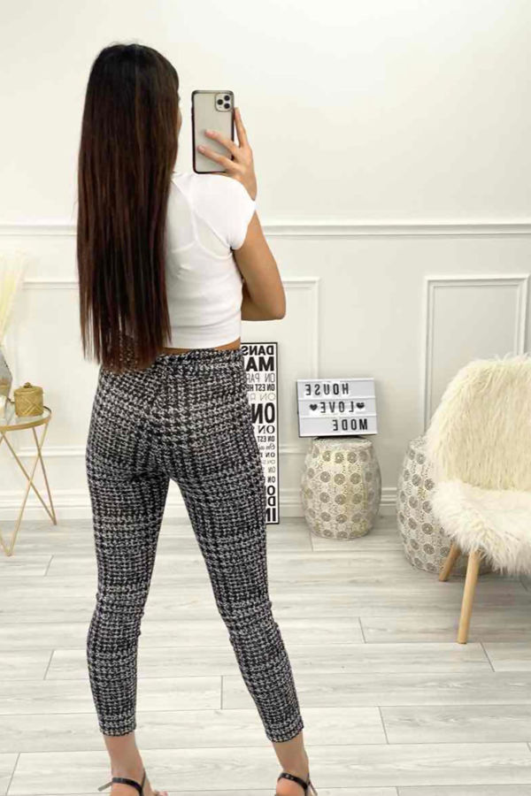 Monochrome Dogtooth Belted Tapered Trousers