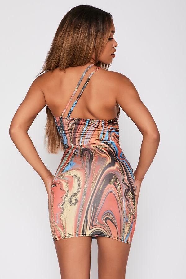 Multi Abstract Print Slinky Asymmetric Strap Bodycon Dress