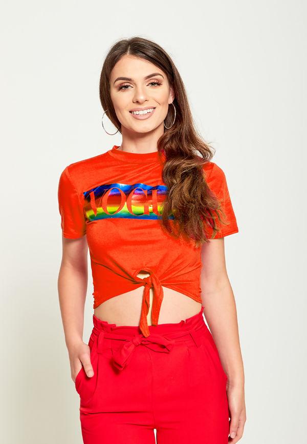 Multi Orange Vogue Crop Tie T-Top