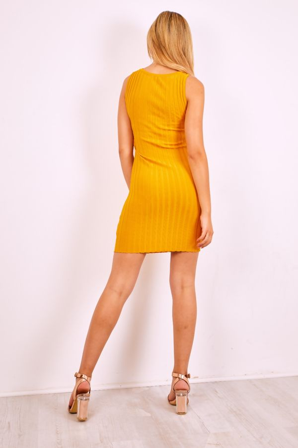 Red Cross Front Ribbed Bodycon Mini Dress