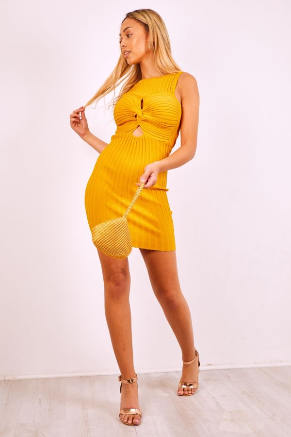 Mustard Cross Front Ribbed Bodycon Mini Dress