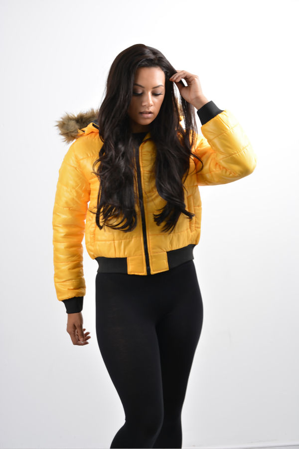 Mustard Quilted Badge Puffer Hood Bomber Jacket
