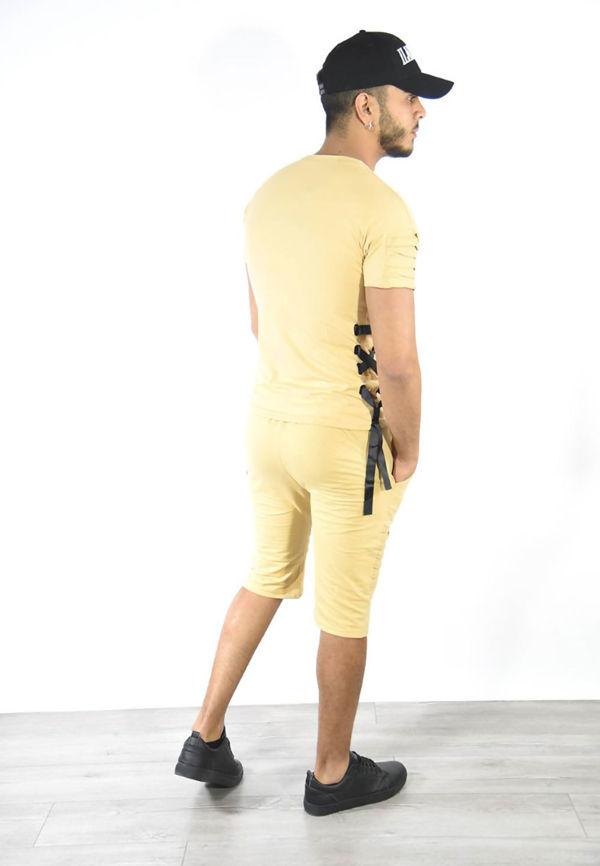 Mustard Ribbed Tee and Shorts Set