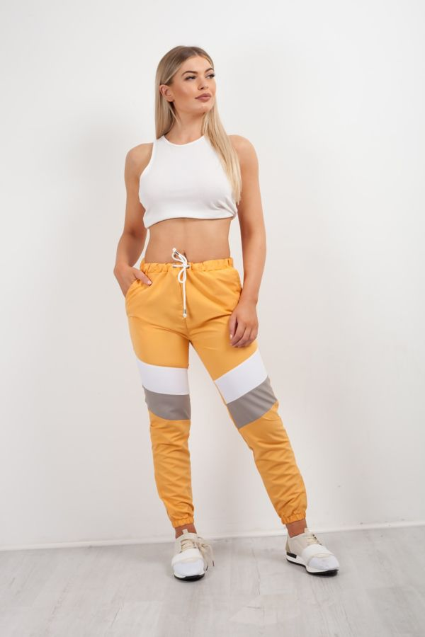 Mustard With White and Grey Panel Trouser