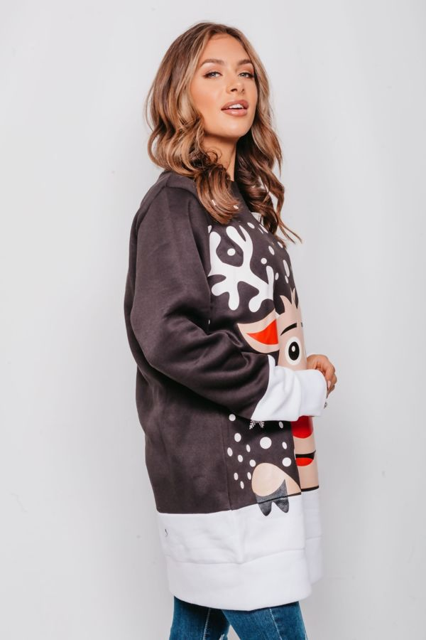 Red Naughty Rudolph Christmas Jumper Dress Pre-Order