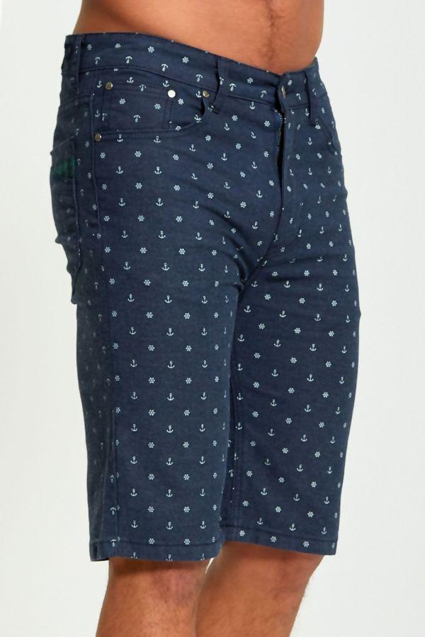 Navy Anchor Print Chino Shorts