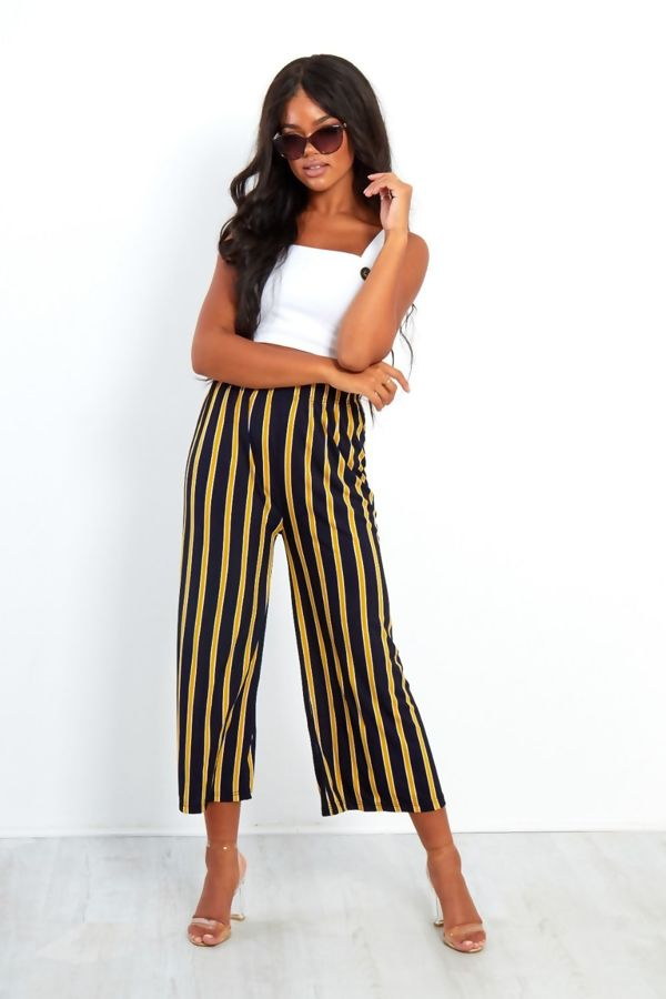 Navy And Red Wide Leg Cropped Trousers