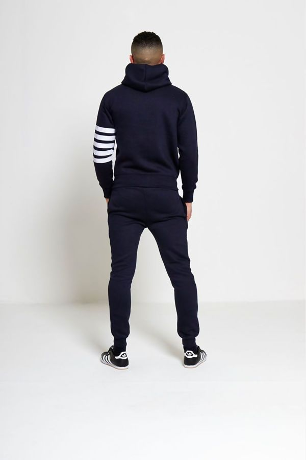 Navy Asymmetrical White Striped Hooded Tracksuit