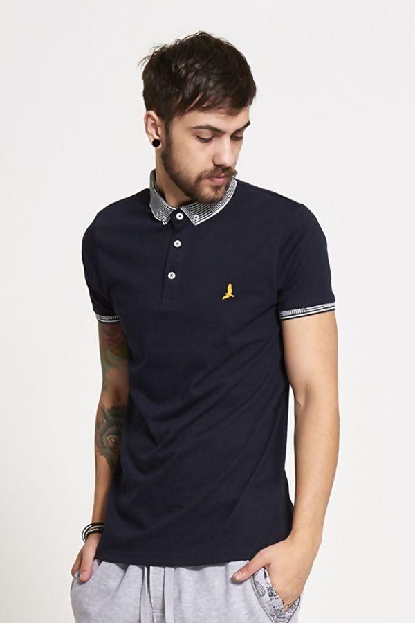 Navy Aztec Collar Polo T-Shirt