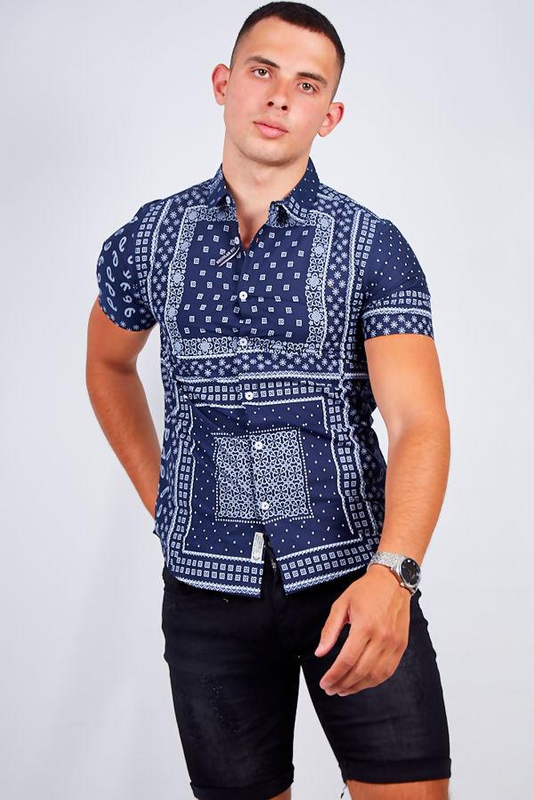 Navy Bandana Print Short Sleeve Shirt