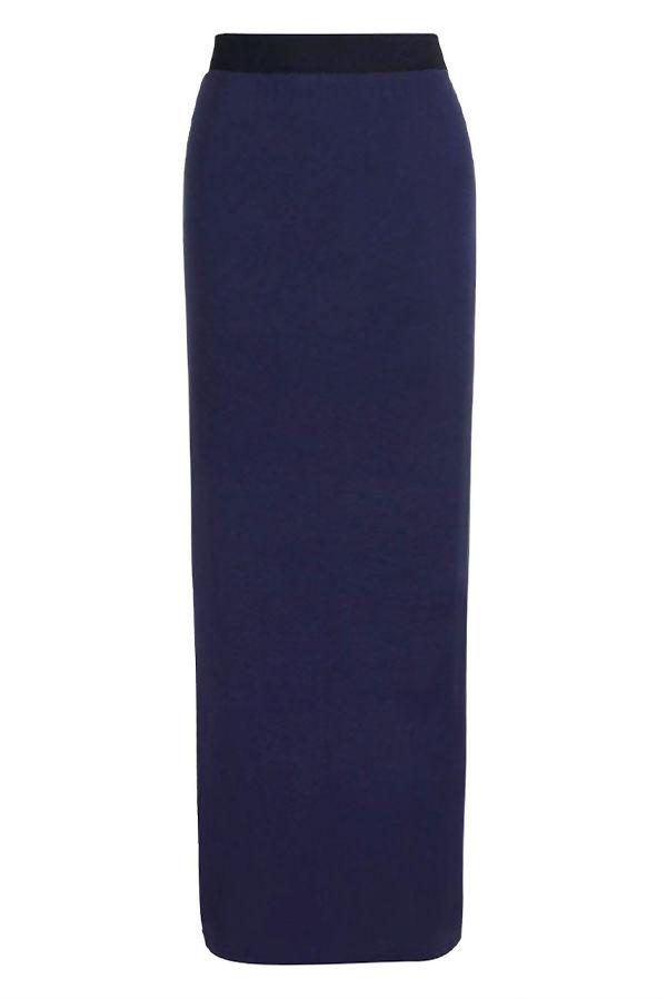 Navy Basic Contrast Waist Jersey Maxi Skirt