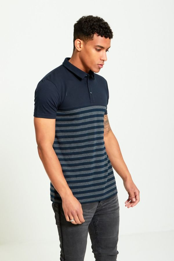 Navy Block Stripe Panel T-Shirt