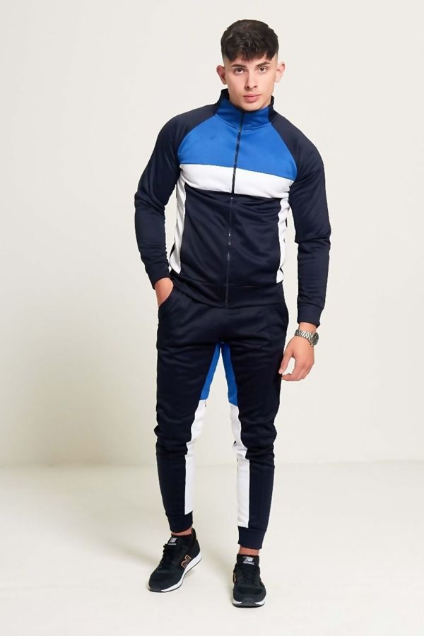 Navy Blue And White Zip Through Collared Tracksuit