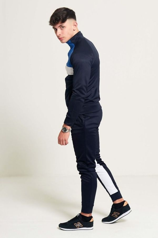 Navy Blue And White Zip Through Collared Tracksuit Preorder
