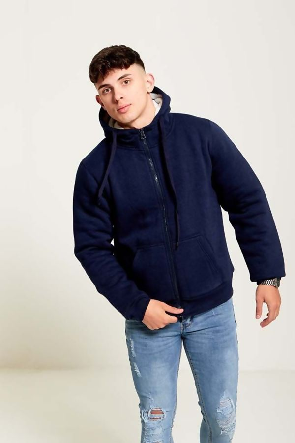 Navy Borg Fleece Zip Up Hoodies