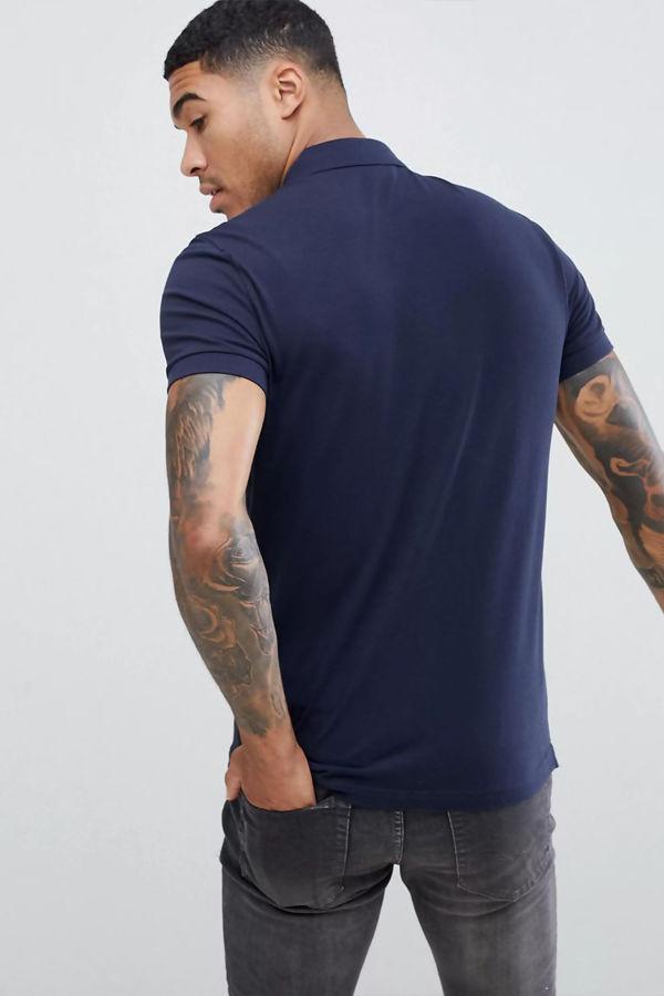 Navy BOSS Passenger Slim Fit Logo Polo