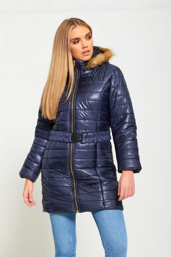 Navy Bubble Belt Jacket