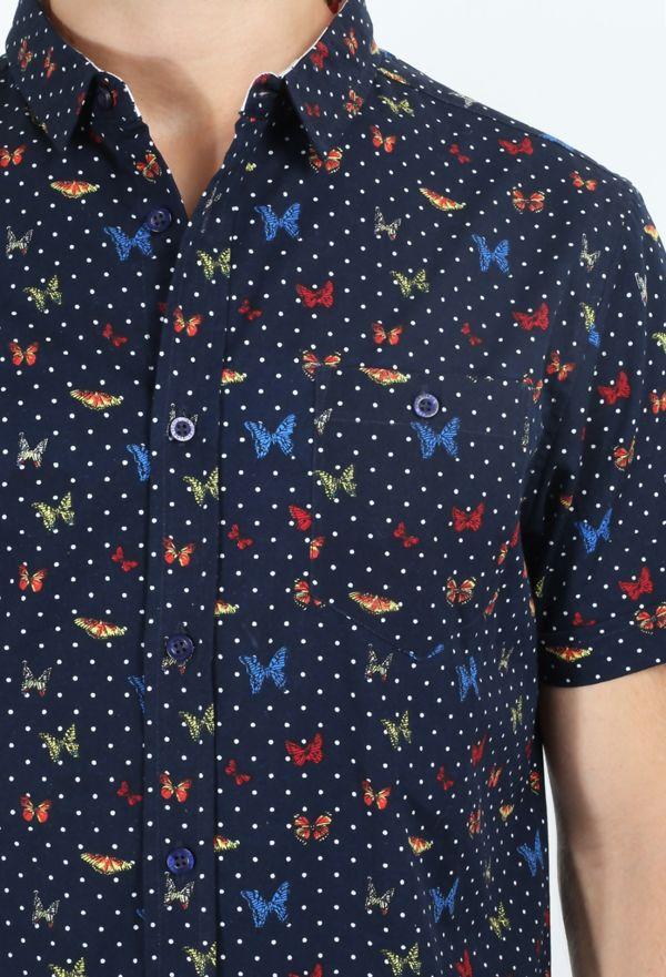 Navy Butterfly Half Sleeve Printed Shirt