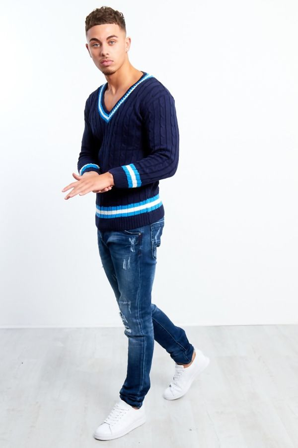 Navy Cable Knitted V Neck Cricket Jumper