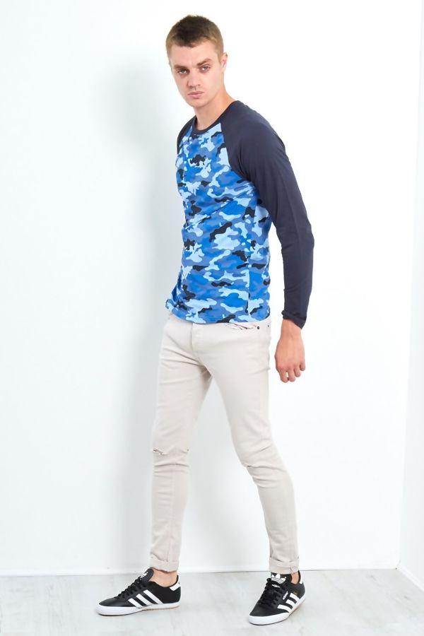 Navy Camo Raglan T-Shirt