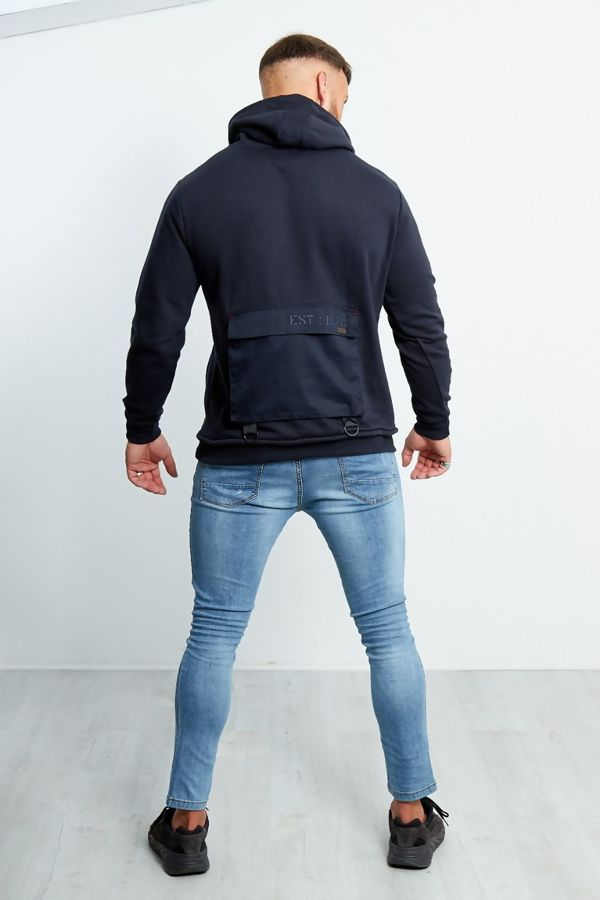 Navy Cargo Pocket Front Pull Over Hooded Jumper