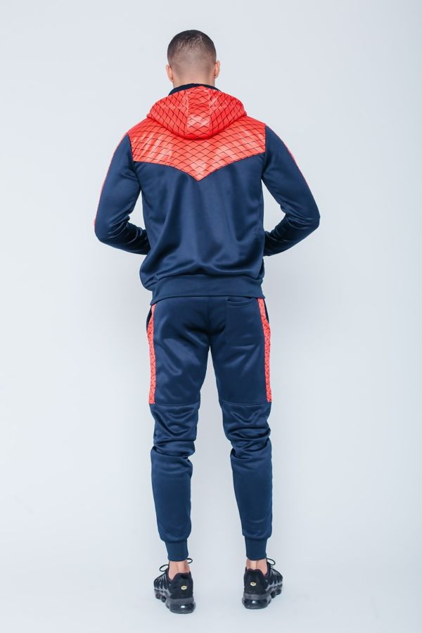 Navy Chevron Panel Skinny Fit Hooded Tracksuit