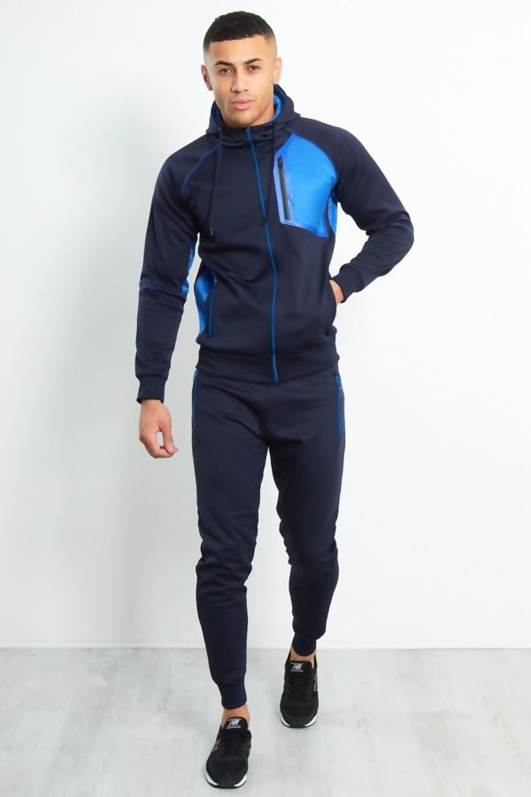 Navy Colour Block Funnel Zip Through Tracksuit