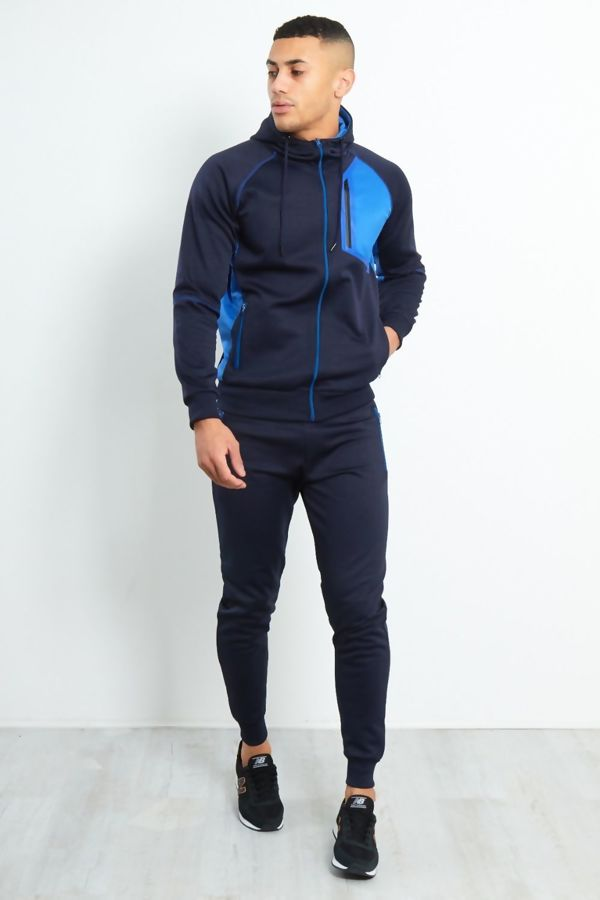 Navy Colour Block Funnel Zip Through Tracksuit Pre Order
