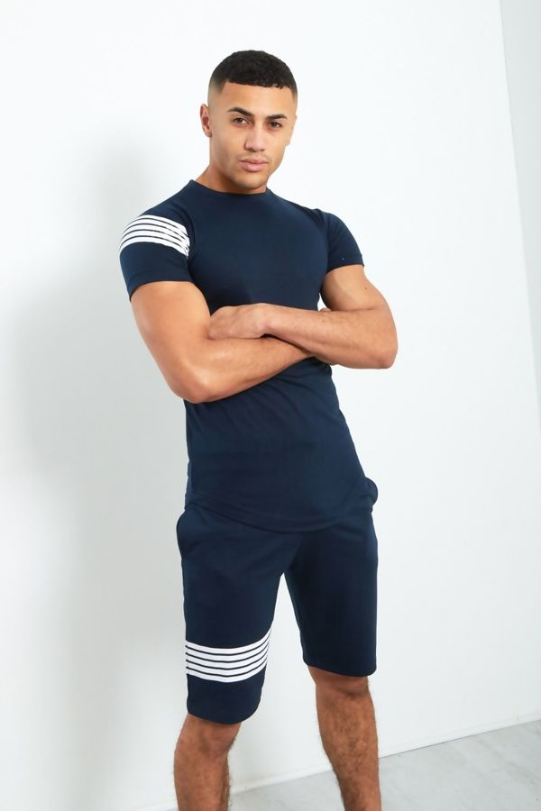 Navy Contrast Paneled T-Shirt and Shorts Set