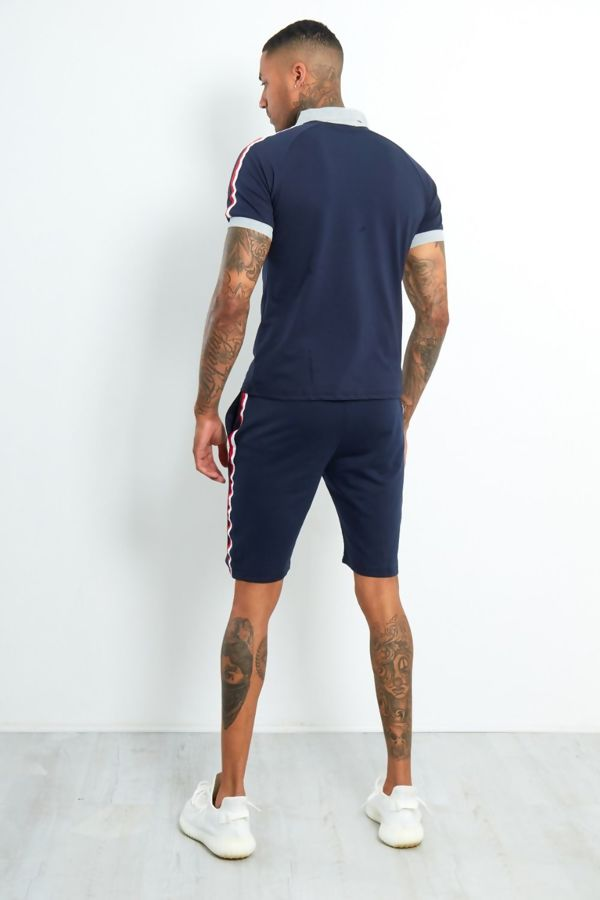 Navy Contrast Polo T-Shirt and Short Set
