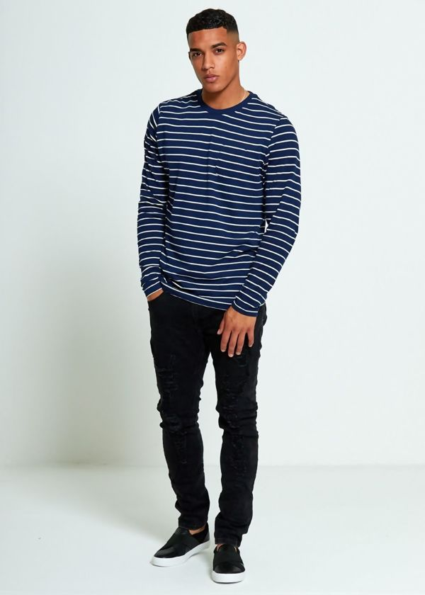 Navy Crew Breton Stripes Long Sleeve T-shirt