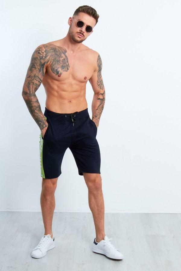 Navy Dominion Panel Jersey Shorts