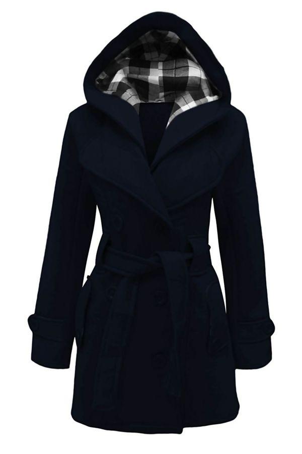 Navy Double Breasted Fleece Hood Belted Coat