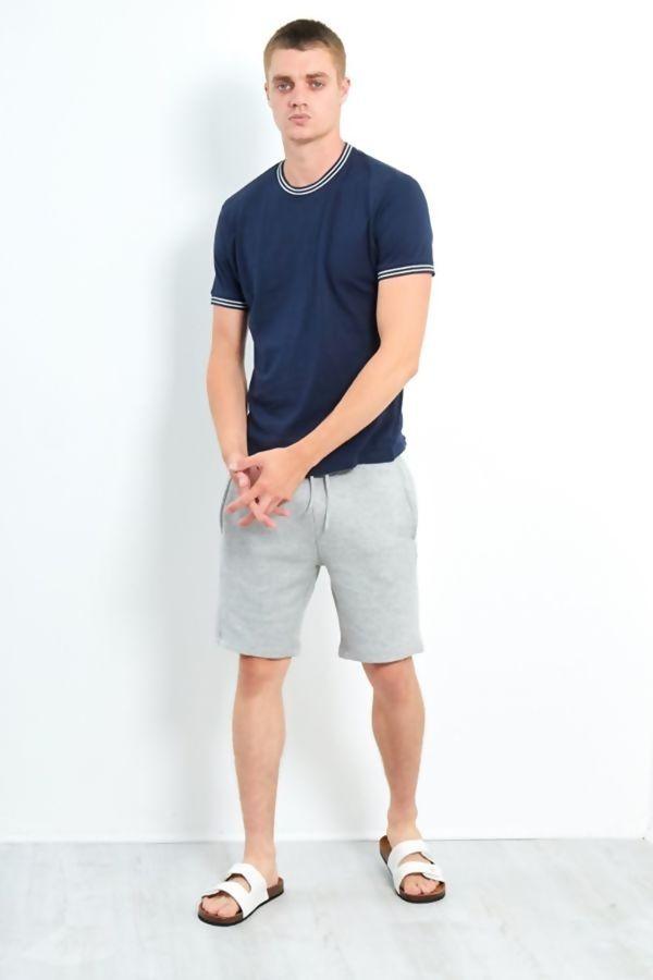 Navy Double Stripe Contrast T-Shirt