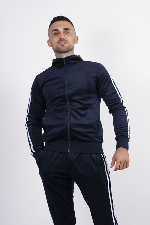 Navy Double Striped Band Velour Tracksuit