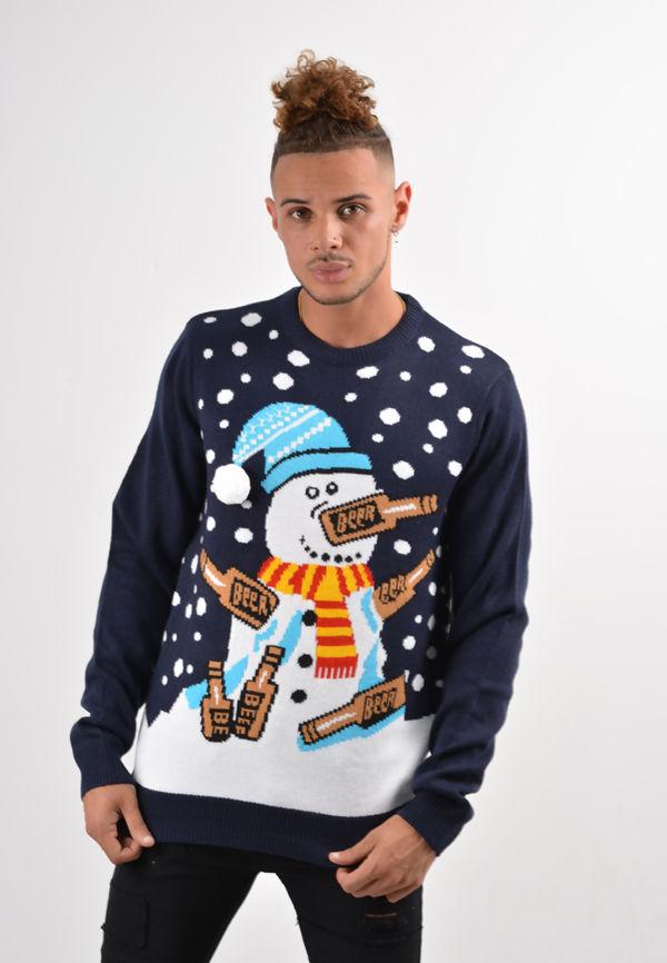 Navy Drunk Snowman Christmas Jumper