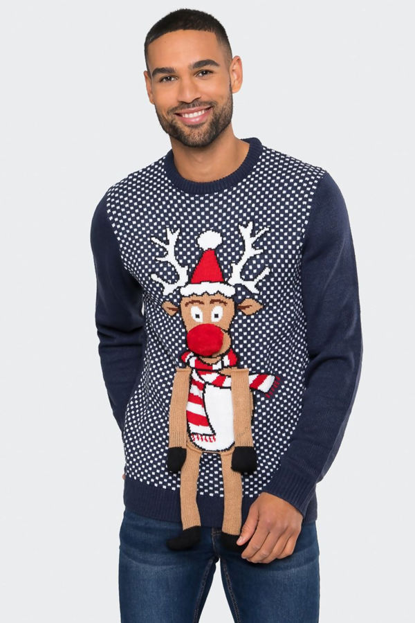 Navy Duffus With Pom Legs Christmas Jumper