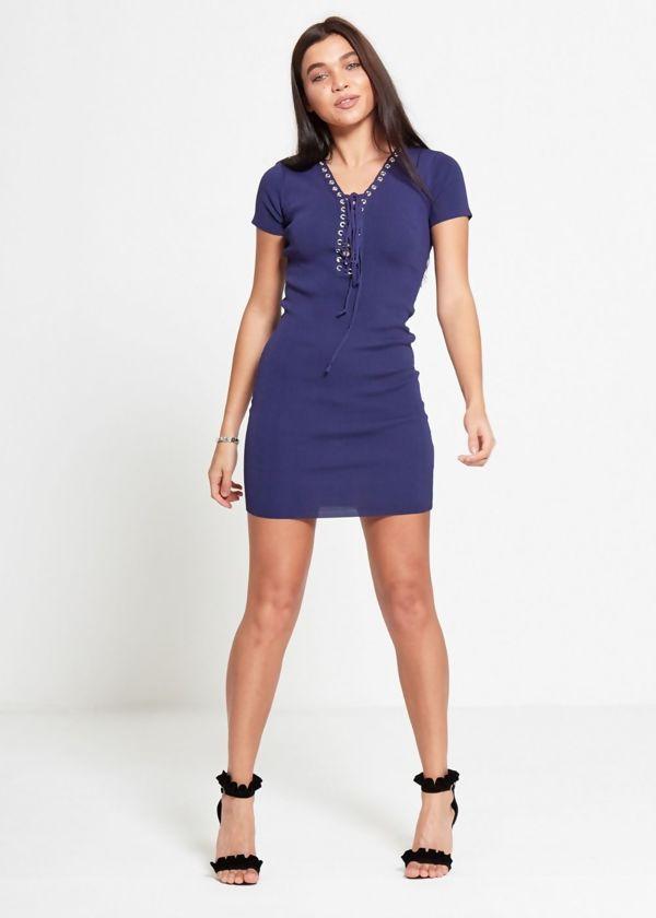 Navy Eyelet Lace Up Dress